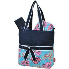 Beach Flip Flop Print Quilted 3pcs Diaper Bag-Nav