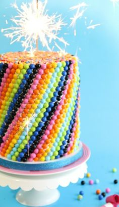 Cake decorated with sixlets