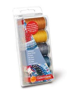 burda style - Gütermann Nähfaden-Set -  Die spezielle Produktkombination zum Nähen und Stopfen von Jeansstoffen. In den typischen Blautönen und Jeansabsteppfarben.