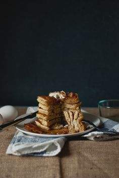 Bacon Greek Yogurt Pancakes | Two Red Bowls