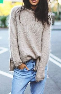 cozy oatmeal sweater with jeans