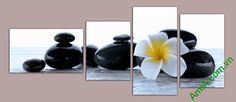 Hình ảnh tranh spa hoa sứ đá với bông hoa đại đem đến cho không gian sang trọng…