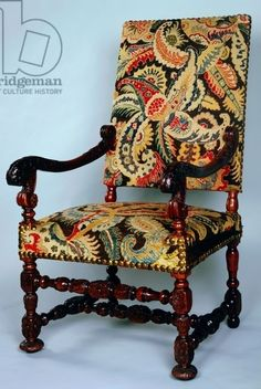 Louis XIII style armchair with twist turned frame and petit point upholstery, France, 17th century; Private Collection; De Agostini Picture Library /