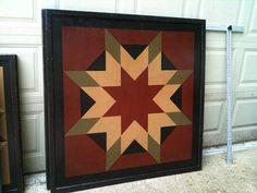 PriMiTiVe Hand-Painted Barn Quilt, Framed 2 x 2 Harvest Star Pattern via Etsy