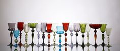 Beautiful Goblets by Micheal Schunke http://michaeljschunke.com/  Red wine or white? Parfaits perhaps? Maybe just for looking at and admiring.Colours are just gorgeous!