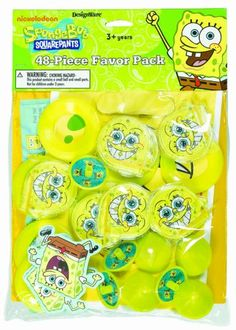 Spongebob Squarepants 48 Piece Favor Pack @ niftywarehouse.com #NiftyWarehouse #Spongebob #SpongebobSquarepants #Cartoon #TV #Show
