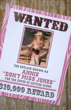 cowgirl birthday party poster