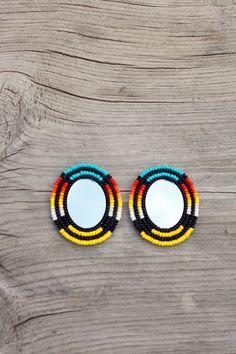 Native American Beaded Oval Mirror Earrings by eleumne on Etsy,