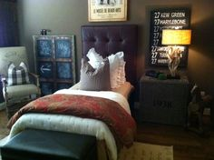 reader's house tour...bedroom with black & white check + paisley + tall upholstered headboard.