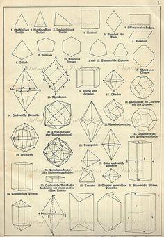 LARGE 1880 Vintage Antique Print DIAMONDS CRYSTALS prisms Chart I vintage precious minerals gem stones illustrations