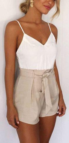 White cami, khaki shorts