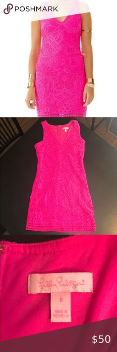 Lilly Pulitzer Astrid Hot Pink Crochet Dress Excellent Condition  Size small Lilly Pulitzer Dresses Mini