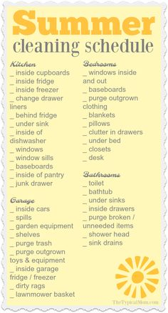 Here is the Summer house cleaning list I promised you! One more in my series of organization printables to help keep you on track and not overwhelmed. via (Diy House Cleaning) House Cleaning Checklist, Household Cleaning Tips, Diy Cleaning Products, Cleaning Solutions, Deep Cleaning, Cleaning Hacks, Cleaning Schedules, Cleaning Lists, Clean House Schedule