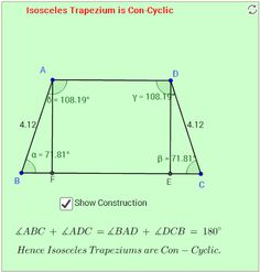 Probe that any Isosceles Trapeziums are Con-Cyclic (a cyclic quadrilateral) : http://mathematicsbhilai.blogspot.in/2015/12/isosceles-trapeziums-are-con-cyclic.html  -  Sanjay Gulati: Google+