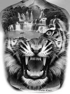 Chicanas Tattoo, Real Tattoo, Tiger Tattoo, Mandala Tattoo, Tattoo Designs, Lion Tattoo Design, Flower Cover Up Tattoos, Full Back Tattoos, Christian Tattoos