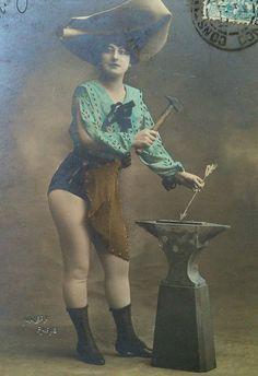 actress anvil hammer artiste theatre postcard
