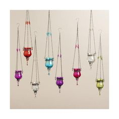 Cost Plus World Market Glass Dahlia Hanging Tealight Lanterns Set of 8 (€42) ❤ liked on Polyvore featuring home, home decor, candles & candleholders, glass tea lights, cost plus world market, glass home decor, glass tealight and glass tea light