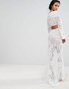 Jarlo Petite Cutout Back Lace Maxi Dress With Train - White