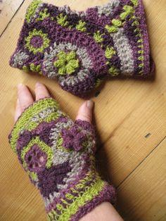 Fingerless Freeform crochet mittens by Irene Lundgaard
