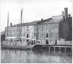 Several views of Libby Prison were taken from the land side, but this picture is unique in that it shows the building as it appeared from the river. Description from pddoc.com. I searched for this on bing.com/images