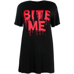 Boohoo Plus Plus Lexi Halloween Slogan T-Shirt Dress ($26) ❤ liked on Polyvore featuring dresses, boohoo dresses, bodycon dress, cami bodycon dress, layered dress and evening dresses