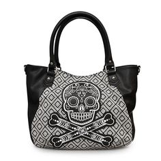 Loungefly Black and White Tweed Sugar Skull Handbag