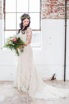 Trailing bridal gown and stunning illusion lace sleeves | Ebersole Photography
