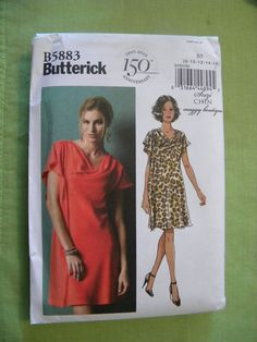 Butterick Pattern B5883 Misses' Bias, Self-lined Pullover Dress size 8-16