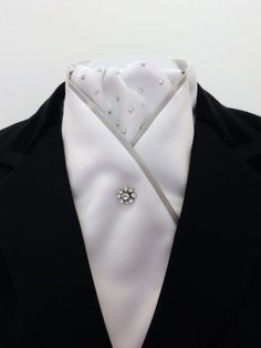 White and silver dressage/show stock by Equestrian Pzazz $55.00 Please visit our page for more stunning and unique designs: https://www.facebook.com/eqpzazz