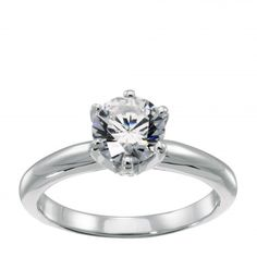 Engagement Rings | Solitare | Tiffany-Style 6-Prong Engagement Ring high setting  2.55 tcw round brilliant center stone w/matching band $1654.In 14k white gold