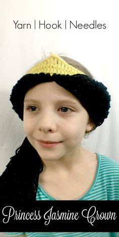 The Princess Jasmine Crochet Crown with FREE Pattern! YHN is part of - Need another princess crown idea Check out this free pattern for the simple yet lovely Princess Jasmine Crochet Crown! Your little lady will love it! Crochet Beanie Pattern, Crochet Hats, Crochet Patterns, Crochet Ideas, Easy Crochet, Crown Pattern, Free Pattern, Punk Disney Princesses, Princess Disney