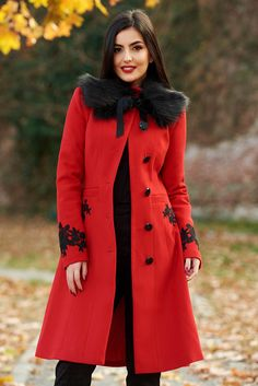 LaDonna best impulse elegant embroidered from wool with inside lining red coat Product Label, Faux Fur, Wool, Elegant, Long Sleeve, Red, Fabric, November, Jackets