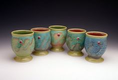 Peachy green Yunomi cup by VEpottery on Etsy, $26.00