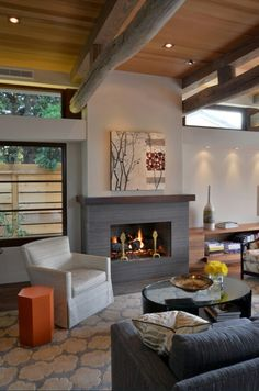Rustic look living room...for people who like it woody