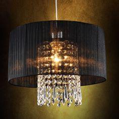 Moderne Deckenleuchte Hängeleuchte Kronleuchter Lüster Schwarz Stoff + Kristall | eBay