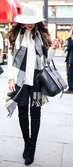 White Hat Chunky Cable Knit Sweater In London Fall Street Style Inspo by The Sweetest Thing