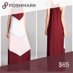 "Color block maxi dress 60"" long sleeveless maxi dress. 96% modal 4% spandex. True to size. Sizes: small, medium & large available Dresses Maxi"