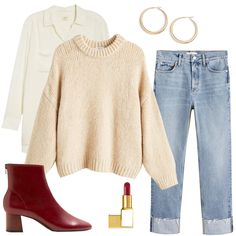 Looking for a cozy and comfy Outfit for Thanksgiving in 2020 - how about some trendy straight leg jeans with burgundy boots, a chunky beige sweater, and satin blouse with hoop earrings #thanksgivingoutfit #cozythanksgivingoutfit #outfitideas #thanksgiving2020 #cozythanksgivingstyle Short Women Fashion, Womens Fashion Casual Summer, Fashion Fall, Cozy Winter Outfits, Casual Fall Outfits, Women's Casual, Thanksgiving Fashion, Athleisure Trend, Fall Jeans