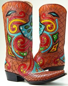 Handmade and painted by Mexican craftsmen, the Talavera Hombre boots ($1,595) are a custom design by Texas painter and leather artist Carrie Cameron