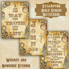 I created these fun steampunk Bible verse instant download notecards. Download the file and print the fun Scriptures yourself.