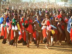 The Swazi Reed Dance in Swaziland! The young unmarried maidens dance before the King. A thrill to be at in 1991.