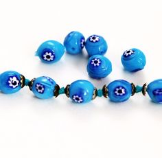 Aqua Blue Millefiori Beads -Vintage (12) – Estatebeads