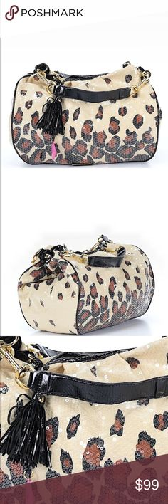 Betsey Johnson sequin leopard print hobo Betsey Johnson secret leopard print hobo. 11in width x 4 in depth x 12 in height. New without tags. No flaws or signs of wear. Ships within one week. Price firm unless bundled. Betsey Johnson Bags Hobos