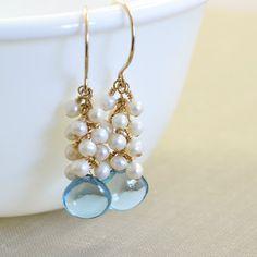 London Blue Topaz Pearl Gemstone Earrings December by NansGlam, $59.50