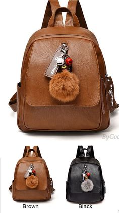 56aff695d3 Leisure British Style Brown Soft PU Large Lady Bag Student Backpack   backpack  bag