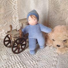 Вальдорфская кукла мальчик в пришивном комбинезоне, waldorf doll
