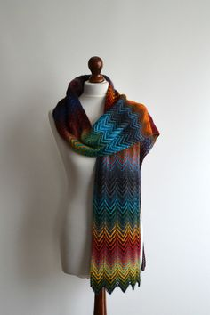 Scarf  hand knitted multicolored scarf  wool  by BeaDMcraft