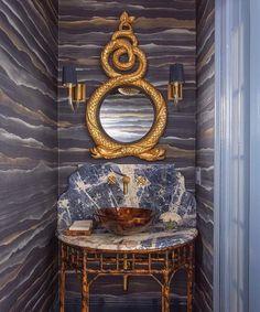 Silk Fromental Walled Powder Room with Gilt Mirror and Custom Tortoiseshell Vanity Bath Design Detail Asian Modern Transitional by Kristin Paton Interiors Decor Interior Design, Furniture Design, Interior Decorating, Deco Originale, Bath Design, New Blue, Of Wallpaper, Beautiful Bathrooms, Bathroom Inspiration