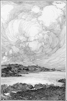 Illustration sea franklin booth - Landscapes Coloring Pages for Adults - Just Color Landscape Sketch, Landscape Drawings, Art Drawings, Landscapes, Meer Illustration, Ink Illustrations, Bleistift Tattoo, Franklin Booth, Cloud Drawing