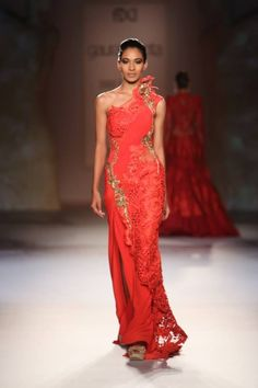 Gaurav Gupta at India Couture Week 2014 - pink red fusion sari dress
